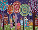 Artifact Puzzles - Karla Gerard Night Village Wooden Jigsaw Puzzle