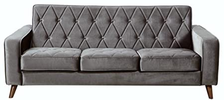 TOV Furniture Bowery Petite Velvet Sofa, Grey