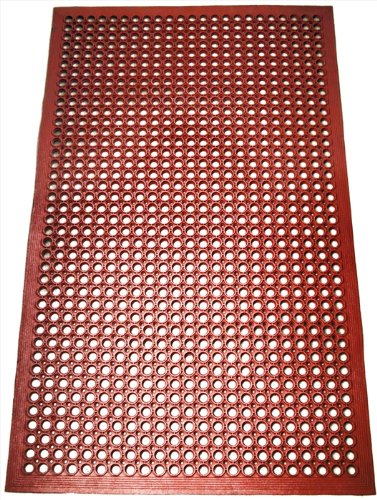 New Star 1 pc Heavy Duty Red 36×60 inch Restaurant / Bar Grease Resistant Rubber Floor Mat