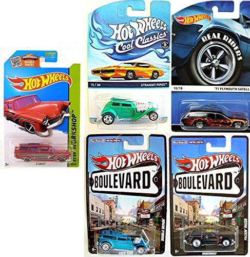 Wagon Hot Wheels Set Real Riders '71 Plymouth Satellite & Packin' pacer, 8 Crate, Double Demon, Straight Pipes Classics Heritage Collection 2015 (Super Treasure Hunt Datsun compare prices)