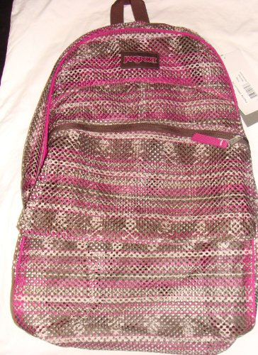 Jansport Mesh Dingo Brown Pink With Skulls Backpack 2000 Cubic Inches