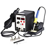 Flexzion Hot Air Soldering Station SMD Gun 2in1 Iron Solder Digital Rework Set Welder Repaire Tool with Dual LCD 3 Nozzles Power Switches Unit Electric 110V 898D (Color: pol220)