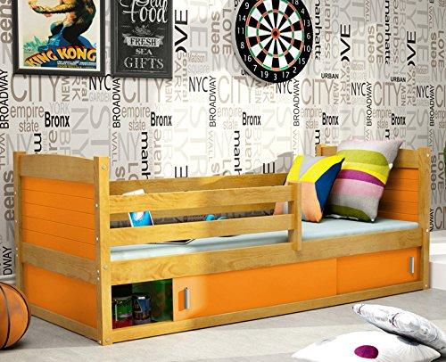 Lit enfant RICO 1 en pin 200x90 AULNE (MIEL) +sommier +matelas gratuit