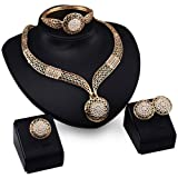 Genuiskids Fashion Women Jewelry Sets Bride Wedding Party Gold Plated Chain Necklace Earring Set (Color: Black)