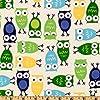 Urban Zoologie Owls Blue Fabric