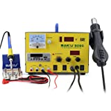 BAKU BK-909S 4 in 1 BGA LED Digital Display Hot Air Rework Station, Hot Air Rework+ Soldering Iron Station+ DC Power Supply+ USB MP3 Player