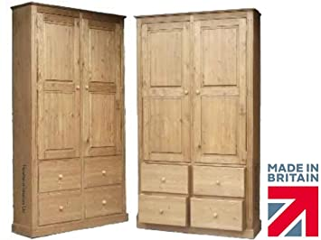 Solid Pine Cupboard, 7ft x 4ft Handcrafted & Waxed 4 Drawer Pantry, Larder, Linen, Shoe, Filing, Hallway or Kitchen Storage Cabinet. Choice of Colours. No flat packs, No assembly