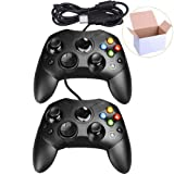Mekela 2 Packs Classic Wired Controller Gamepad Joysticks for Xbox S Type Console (Black and Black) (Color: Black and Black)