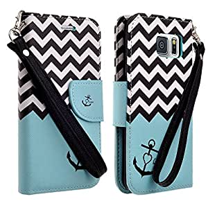 Customerfirst - Galaxy S6 Edge Case, [Stand Feature] Galaxy S6 Edge Wallet Case **NEW** [Book Cover Case] - Premium PU Leather Wallet cover with Hand Strap - Galaxy S6 Edge Leather Case with STAND Flip Cover and Credit Card I