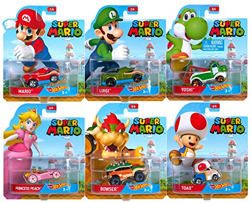 2016 Hot Wheels Set of 6 Super Mario 1/64 Character Cars Collectible Die Cast Toy Car Models (Super Mario Cars compare prices)