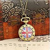 おしゃれ ユニオンジャック & 星条旗 アンティークデザイン ネックレス 懐中時計 イギリス & アメリカ 国旗 かわいい