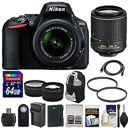 Nikon D5500 Wi-Fi Digital SLR Camera & 18-55mm G VR DX (Black) with 55-200mm VR Lens + 64GB Card + Backpack + Battery & Charger + Wide/Tele Lens Kit