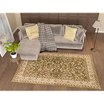 Antique Classic Green 3'11'' x 5'3'' Area Rug Oriental Floral Motif Detailed Classic Pattern Persian Living Dining Room Bedroom Hallway Office Carpet Easy Clean Rug Traditional Soft Plush Quality