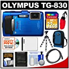 Olympus Tough TG-830 iHS Shock & Waterproof Digital Camera (Blue) with 32GB Card + Case + Battery + Flex Tripod + HDMI Cable + Accessory Kit