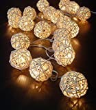 Storm Cream White Rattan Ball Fairy Lights - Ideal Wedding - Christmas & Party String Lights