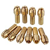 CNBTR 0.5-3.2mm Brass Collet Drill Chuck Fits Dremel Rotary Tools Electric Grinding Drill Collect Chuck Holder Pack of 10 (4.3mm Shank Dia.)