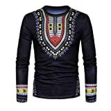 Usstore Men's Top Summer Pullover T-Shirt Long Sleeved African Print Blouse (Black, XL) (Color: Black, Tamaño: X-Large)