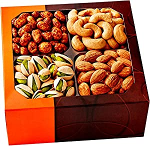 Gourmet Food Nuts Gift Basket, 4 Different Delicious Nuts! Kosher, Vegan, Vegetarian Friendly Gift Tray. Perfect for Any Occasion, Love It or Its Free! -Five Star Gift Baskets