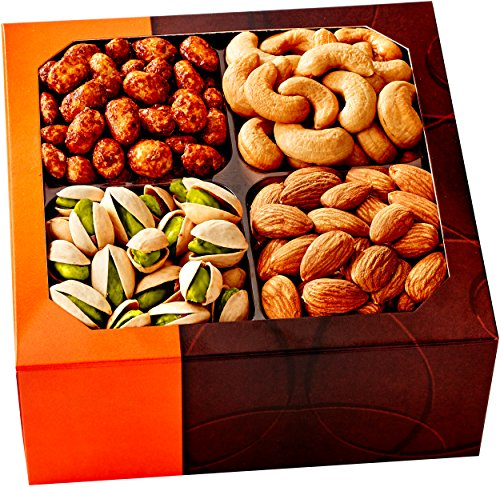 Gourmet Food Nuts Holiday Gift Basket, 4 Different Delicious Nuts! Kosher, Vegan, Vegetarian Friendly Gift Tray. Perfect for Any Occasion, Love It or Its Free! -Five Star Gift Baskets (Wine Flavored Candy compare prices)