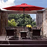 COBANA 9 Ft Outdoor Table Aluminum Patio Umbrella Market Umbrella with Push Button Tilt and Crank, 8 Steel Ribs, Red