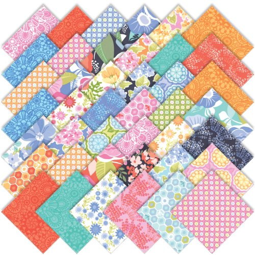 Moda Kate Spain Honey Honey Charm Pack, Set of 42 5-inch-by-5-inch Precut Cotton Fabric Squares