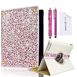 *BLING* 360 Rotating iPad 4 3 2 White Leather Case with (Pink) Sparkling Crystals/ One (Hot Pink)*BLING* Stylus / One (Hot Pink) Stylus - ECO-FUSED Microfiber Cleaning Cloth 5.5x3.0 included - compatible with iPad 2 iPad 3 and iPad 4 (Pink Rhinestones)