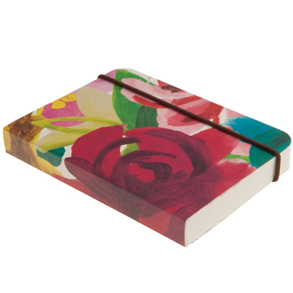 Caroline Gardner Painted Floral Print Small Chunky Elastic Closure Notebook