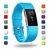 POY Replacement Bands Compatible for Fitbit Charge 2, Classic & Special Edition Sport Wristbands, Cerulean Small, 1PC