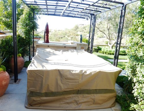 Patio set cover 130 lx86 w fits rectangular or oval table for Oval patio set cover