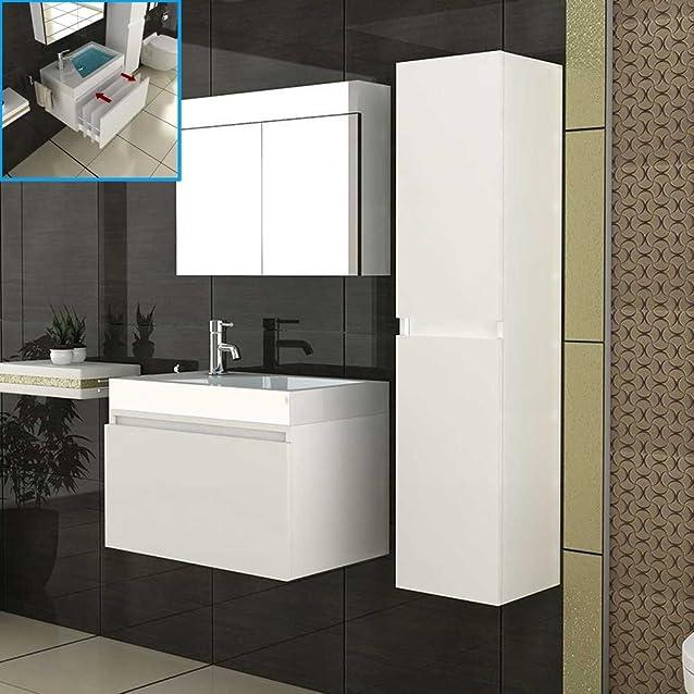 Design Bagno Set Lavabo Con Mobiletto & Specchio Armadio Bianco Completo Set di mobili da bagno miscelatore lavabo