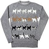 Unisex-Adult Gray Cat Crew Neck Sweater