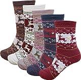 Lady's 5 Pack Fall-Winter Deer Pattern Wool Socks