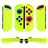 TNP Nintendo Switch Joy-Con Grip Gel Guards with Thumb Grips Caps - Protective Case Covers Anti-Slip Ergonomic Lightweight Joy Con Comfort Grip Controller Skin Accessories (1 Pair Neon Yellow) (Color: 1 Pair Neon Yellow)