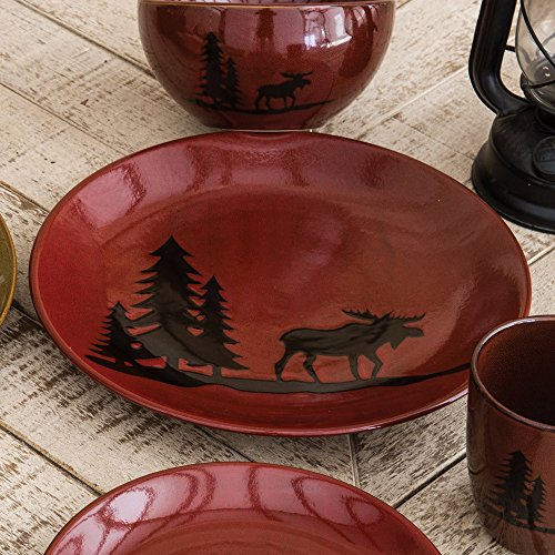 Moose and Bear Lodge Stoneware Moose Dinner Plate - Rustic Kitchen Tableware (Rustic Kitchen Ware compare prices)