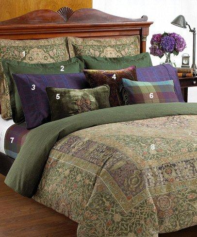 """Lauren By Ralph Lauren """" Rutherford Park Rug """" Queen Duvet Comforter Cover-Green /Purple"""