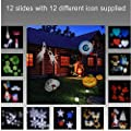 Halloween Christmas Wilsea Led Projector Image Motion 12 Replaceable Patterns Spotlight Walls Landscapes Light Decoration