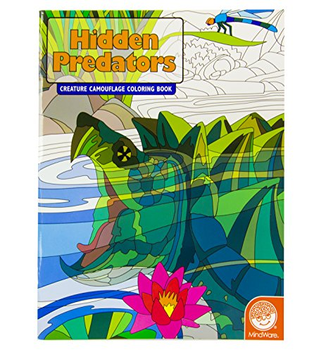 MindWare - Hidden Predators Creature Camouflage Coloring Book - 12 Unique Images with 2 Templates - Teaches Creativity and Fosters Imagination - 1