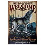 American Expedition Wooden Welcome Sign, Gray Wolf