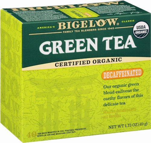 Bigelow Decaffeinated Organic Green Tea, 40-Count Boxes (Pack of 6)