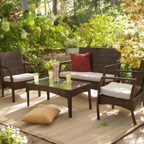 Parkville All-Weather Wicker Conversation Set - Seats 4 Size - 23W x 26.75D x 35H in.