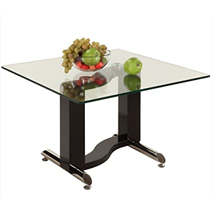 Fenya Black and Chrome Sofa Table with Rectangular Glass Top