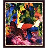 Couple At The Garden Table By Macke - ArtsNyou Printed Paintings - B00QA1EP5Y