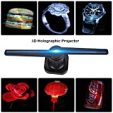 3D Holographic Display LED Fan Exhibition Projector Custom Videos/Pictures Advertising Hologram Advertising Displayer + Card Reader Best for Store, Shop, Bar, Casino, Holiday Events Display Etc(Blue) (Color: Blue)