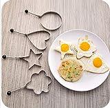 CXFashion Stainless Steel Fried Egg Mold Pancake Kitchen Tool Ring Cooker Maker Shaper (Shape Heart, Round, Flower, Star) (Heart Shape)