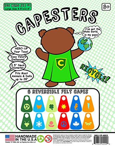 Capesters 6 Large Reversible Eco Hero Capes for Dolls & Stuffed Animals under 24""
