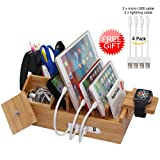 Natural Bamboo Charging Station Organizer for Multiple Devices iPhone iPad Apple Watch, Office Desktop Docking Stations (Include 4 x Charger Cable), Storage Box Stand for Pen,Key,Knife - Pezin & Hulin
