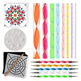 Mandala Dotting Tools for Painting Rocks – Plus Stencil, White Pencil, Paint Tray, Pattern