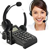 BizoeRade Call Centers Corded Phone with Noise Cancelling Headphones with Binaural Headset Caller ID Display (Color: ID Display Call Center Phone with Binaural Headset)