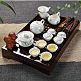 Ufingo-Best Green Bamboo Leaf Ceramic Kung Fu Tea Set Tea Service With Tea Tray
