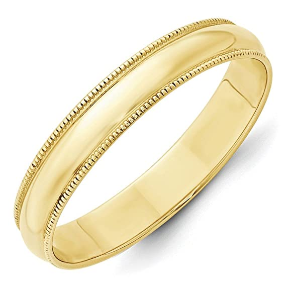10k Yellow Gold 4mm Ltw Milgrain Half Round Band Ring - Ring Size Options Range: H to Z